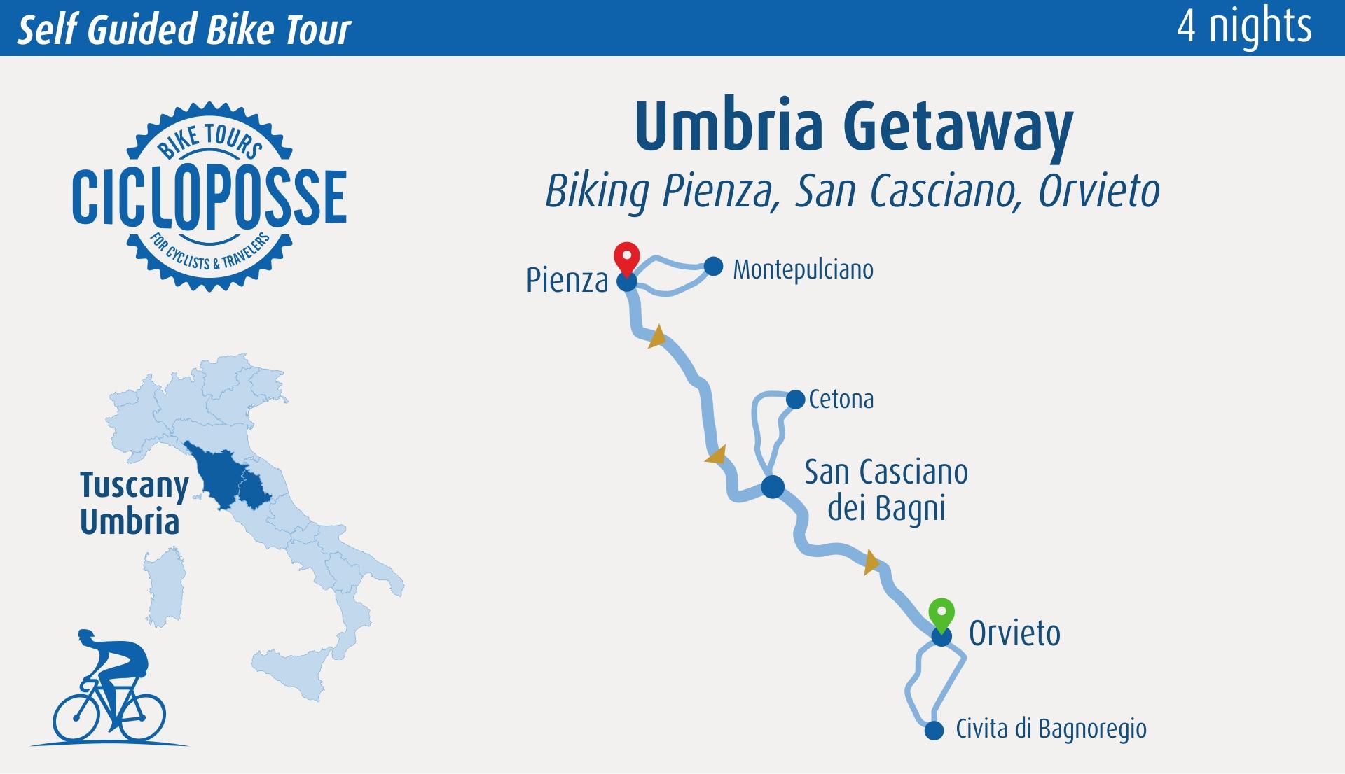 Umbria bike trip map