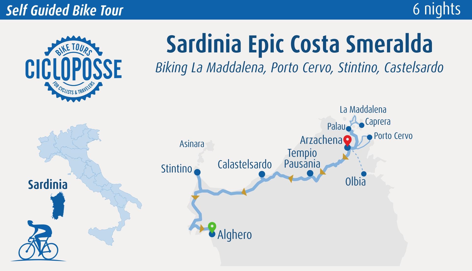 map tour sardinia epic from costa smeralda to Alghero