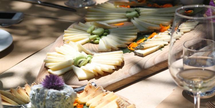 cheesetasting Organic food open market in Pienza