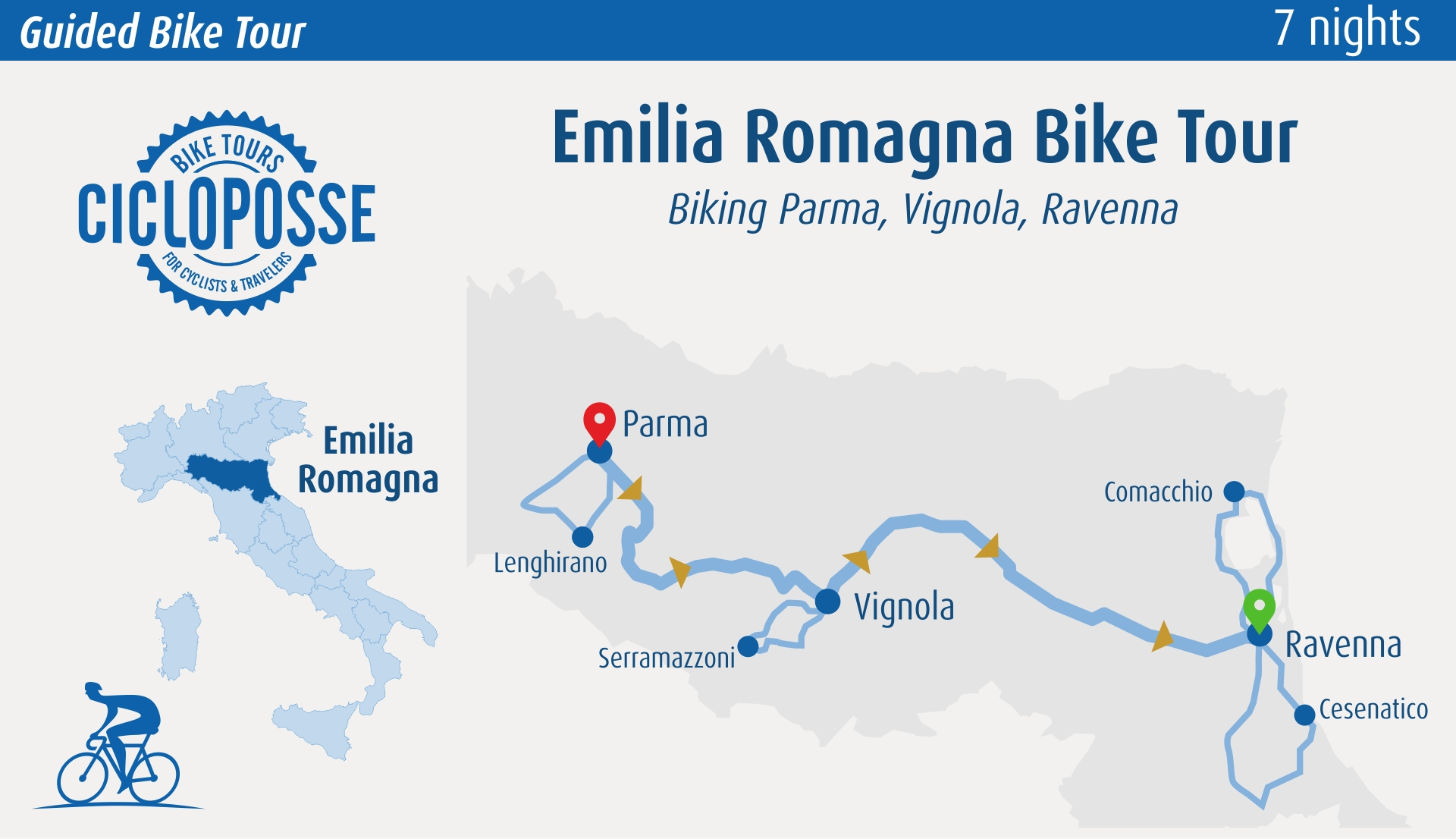 cycling map bike tour Emilia