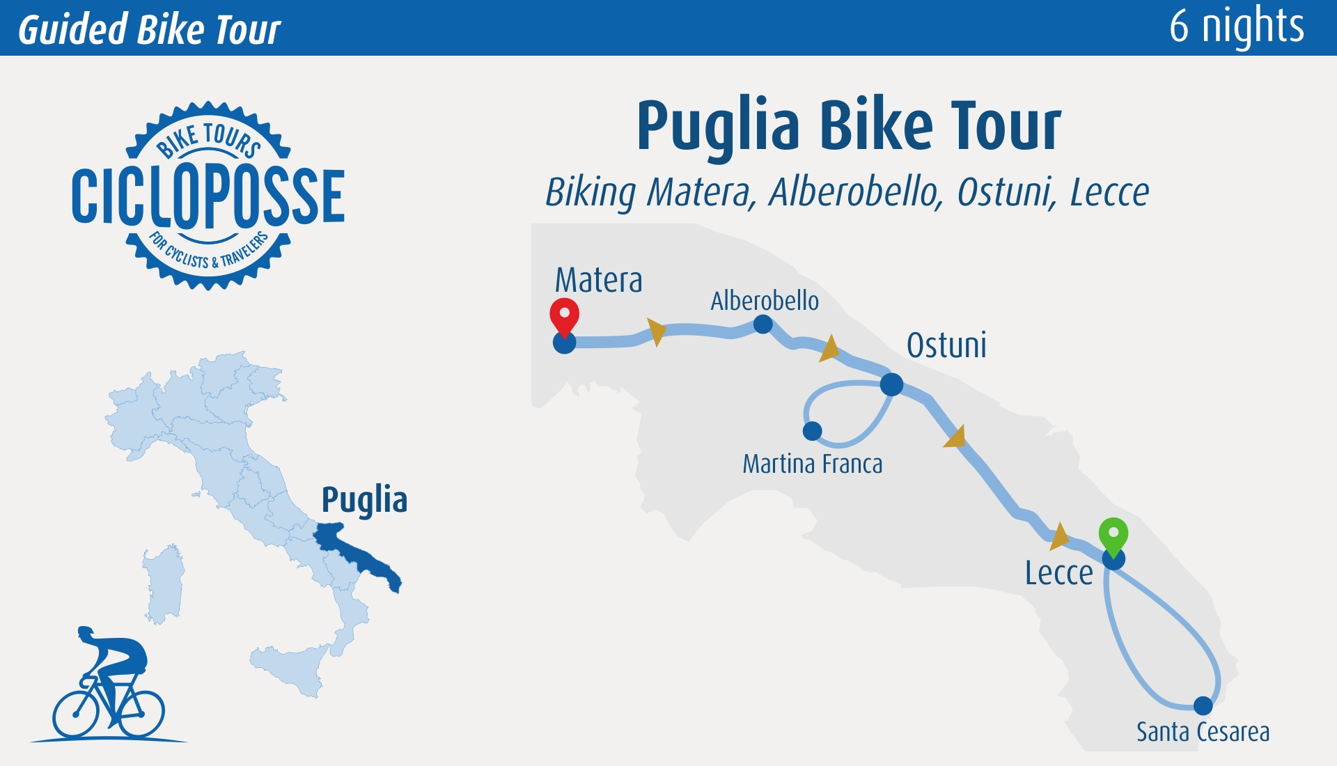 cycling tour puglia map